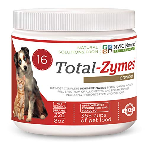 New and Improved! Total-zymes Now with 16 Digestive Enzymes for Pets Treats 365 Cups of Pet Food! For Dogs and Cats