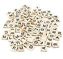100pcs木製スクラブルタイルブラックLetters Numbers、ペンダントCraftsスペルPieces for Crafts木製Alphabetsの商品画像