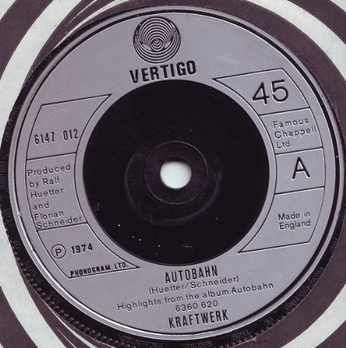 Autobahn (UK 1st pressing 7 inch vinyl single in company sleeve)