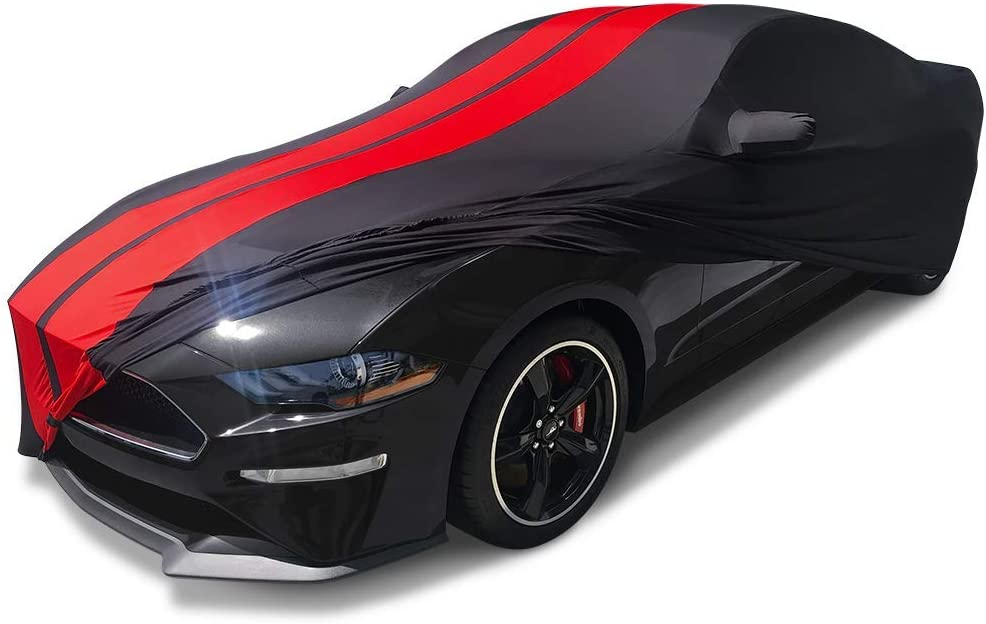 SR1 Performance Ultraguard Sport Series Stretch Satin Indoor Car Cover Black with Red Stripes Compatible for 2015-2019 Ford Mustang