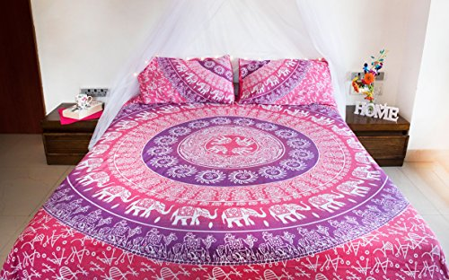 Pink Elephant Mandala Bedding with Pillow Covers, Indian Bohemian Hippie Tapestry Wall Hanging, Picnic or Beach Blanket Throw, Hippy Mandala Ombre Bedspread for Bedroom, Queen Size Purple Boho Spread