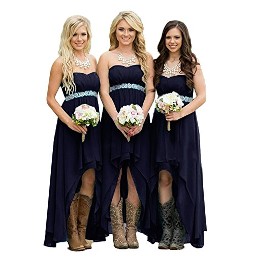 Strapless Chiffon Gown - Fanciest Women' Strapless High Low Bridesmaid Dresses Wedding Party Gowns Navy Blue US14