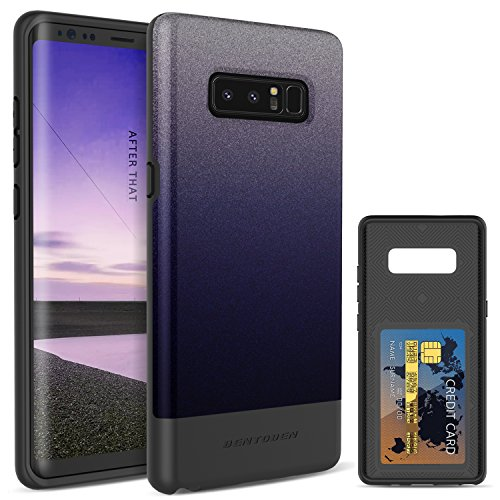BENTOBEN Case for Samsung Galaxy Note 8, Slim Heavy Duty Shockproof Impact Resistant Hybrid Hard PC Soft TPU Card Slot Holder Protective Wallet Phone Case Support Wireless Charging, Purple Gradient