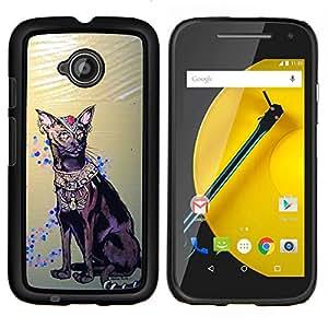 All Phone Most Case / Oferta Especial Duro Teléfono Inteligente PC Cáscara Funda Cubierta de proteccion Caso / Hard Case Motorola Moto E2 E2nd Gen // Havana Brown Egyptian Art Cat Royal