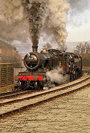 AOFOTO 7x5ft Old Train Locomotive Backdrop Vinyl Vintage Steam Engine Train Railway Photography Background Adult Man Boy Portrait Retro Nostalgia Photo Shoot Studio Props Video Drop