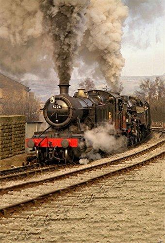 AOFOTO 5x7ft Old Fashioned Steam Locomotive Photography Studio Backdrops Vintage Train Depot Photo Shoot Background Retro Engine Outdoor Railway Video Props Adult Boy Girl Man Kid Artistic Portrait (Shot 6' Hot Air)