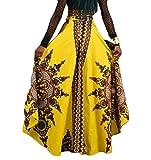 Lutratocro Women Print Retro Swing Hi-Low Africa High Waist Long Skirt Yellow XS