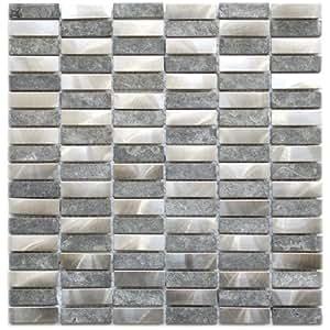 Stainless Steel Bricks And Gray Basalt Stone Mosaic Metal Tile- Kitchen Backsplash / Bathroom Wall / Home Decor / Fireplace Surround