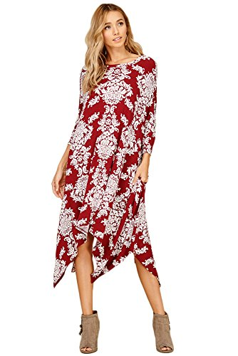 Annabelle Women's Porcelain Patterned Round Neck Quarter-Sleeve Uneven Pocket Dresses Burgundy Garnet Large D5276B