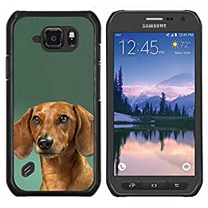 LECELL--Funda protectora / Cubierta / Piel For Samsung Galaxy S6Active Active G890A -- Dachshund Verde Doxie del perro de perrito --