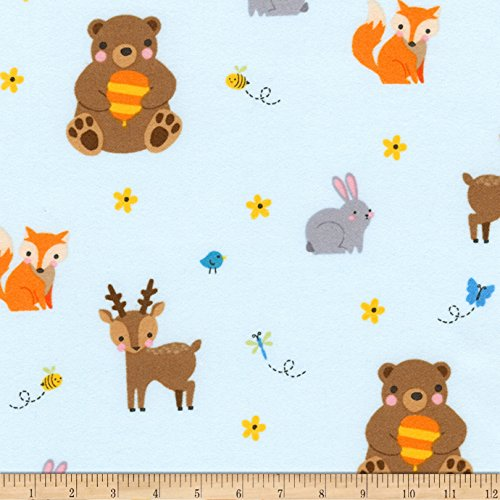 Aqua 42' Flannel (Kaufman Woodland Hideaway Flannel Animal Collage Aqua Fabric By The Yard)