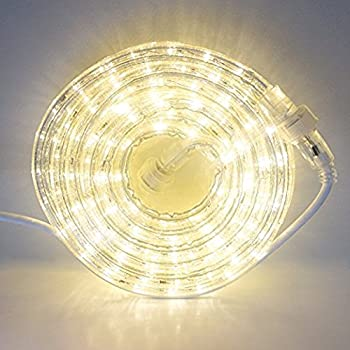 24 Ft. Plugin Rope Lights, 287 Warm White LEDs, Connectable, Dimmable, Waterproof, Indoor/Outdoor Use, Ideal for Backyards, Weddings and Christmas Decor