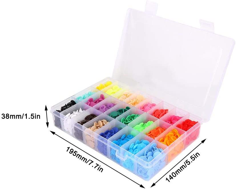 360 Set 24 Color Metal Snap Buttons Hollow Prong Snap Button with Box for Sewing Kid Clothing