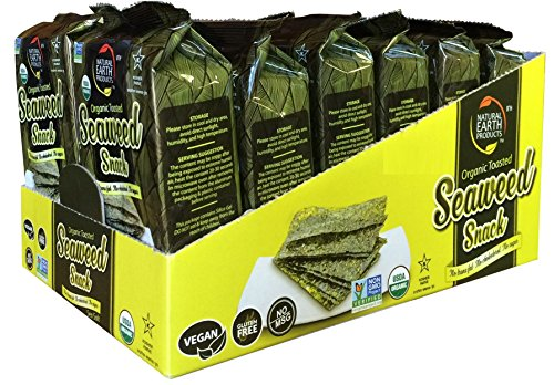 Natural Earth Organic Toasted Seaweed Snack - Delicious Sea Salt Flavor - 100% USDA Certified, Non GMO Verified, Kosher, 0.18 Ounce, 12 Count