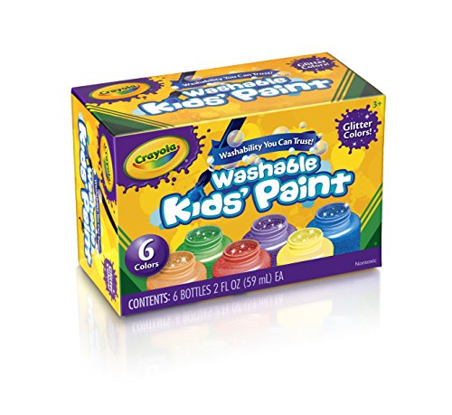 Crayola Washable Glitter Paint Great for Classroom Projects, 6 Count ()