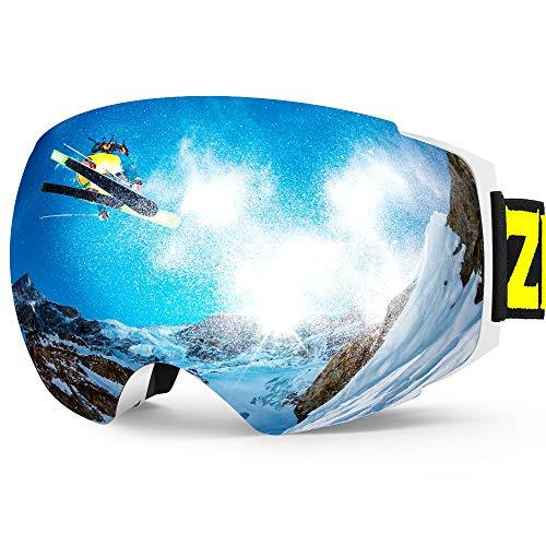 Snow Ski 1 (Zionor X4 Ski Snowboard Snow Goggles Magnet Dual Layers Lens Spherical Design Anti-Fog UV Protection Anti-Slip Strap for Men Women)