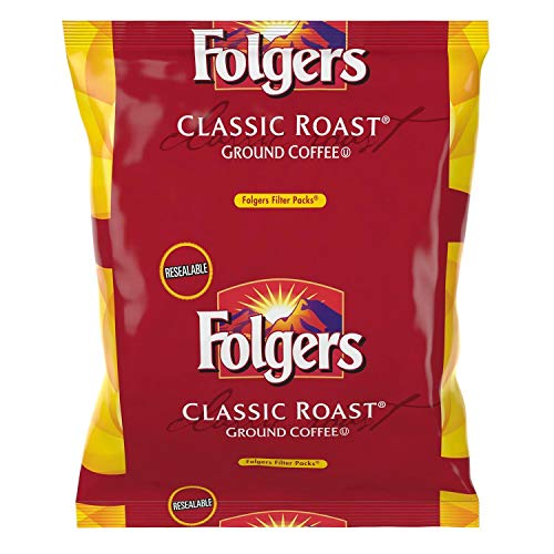 Folgers Classic Roast Filter Packs, Premeasured Ground Coffee and Filter in a Single Pouch, 2 Boxes 80 Count