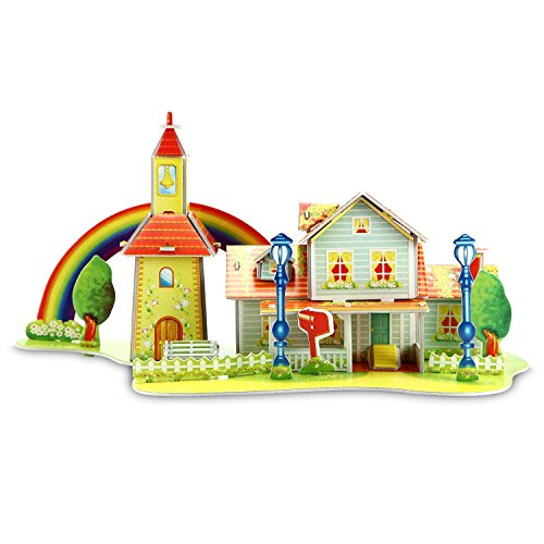 Rainbow Cabin 3D Puzzle Dollhouse, The Best DIY Gift for Children, Toys Game 3d-puzzles (Mario Accessory Child Kit)