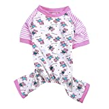 Woo Woo Pets Spring/Summer Cute Pet Puppy Dog Cozy Pajams Dog Stripes Jumpsuit Pink L