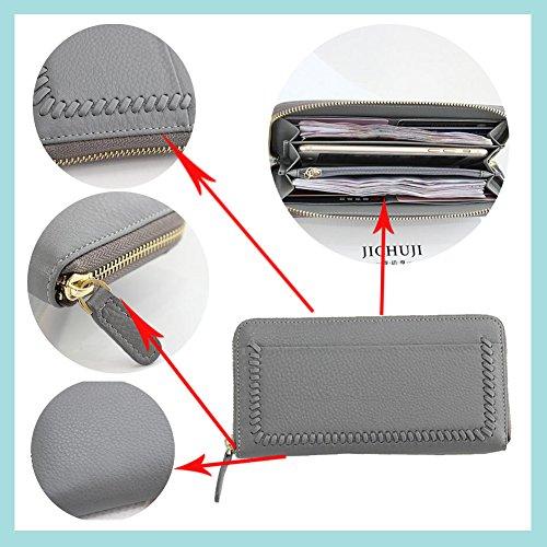 Billetera larga de mujer Bolso de cuero genuino Portatarjetas Bolsos de embrague Pantalón Regalo con cierre de cremallera Zorazone (Gris) Gris