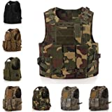 Molle Tactical Vest, CAMTOA Military Army Airsoft vest -Tactical Assault SWAT Vest for Police Holster Style A