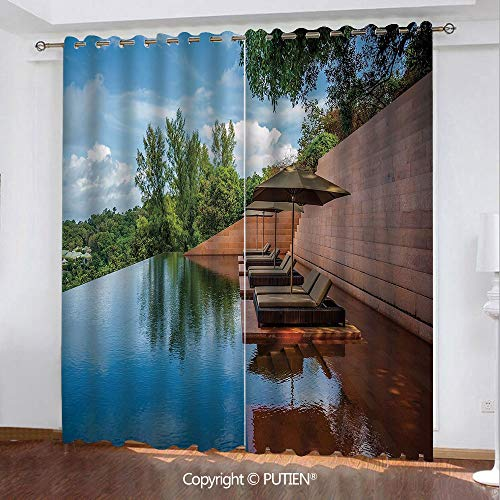 (Satin Grommet Window Curtains Drapes [ Nature,Sofa in Water Hotel Furniture Resort Vacation Seascape Travel Holiday Decorative,Redwood Green Sky Blue ] Window Curtain for Living Room Bedroom Dorm Room )