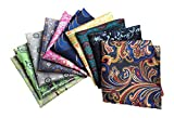 MENDENG Mens 10 Pack Paisley Pocket Square Wedding Party Handkerchiefs Hanky Set