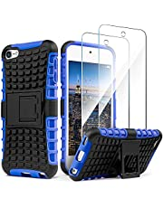 iPod Touch 7 Case with 2 Screen Protectors,iPod 6 Case,iPod 5 Case, IDweel Heavy Duty Dual Layer Shockproof Hybrid Rugged Cover Case with Built-in Kickstand for Apple iPod Touch 5/6/7th Gen, Blue