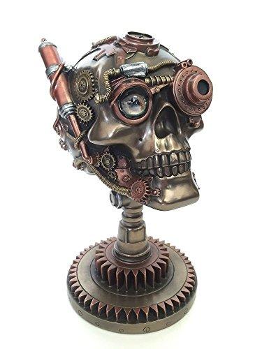 """9"""" Steampunk Skull on Gear Stand Dark Gothic Home Decor Statue Sculpture"""