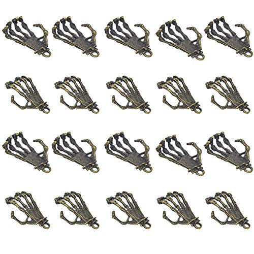 Mystart 20 Pieces Alloy Skeleton Hand Pendant Punk