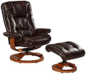 Mac Motion Chairs Bonded Leather Swivel Recliner with Ottoman in Espresso Brown