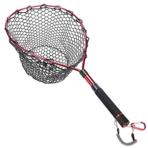 Goture Magnetic Clip Fly Fishing Landing Net Catch and Release Trout Net – Aluminum Alloy Frame with Soft Rubber Mesh(Black Rubber ()