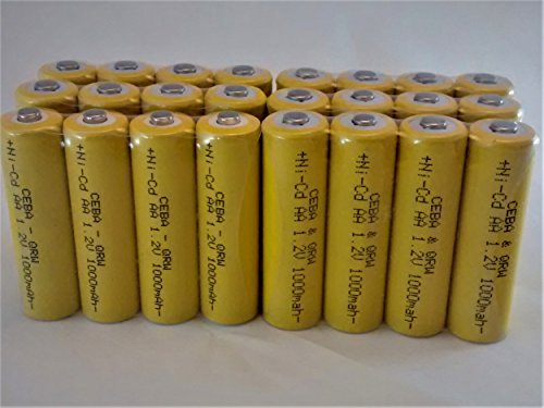 BULK PACK - 24 PCS Button Top AA NiCd 1000 mAh 1.2 V Rechargeable Batteries for Solar, etc