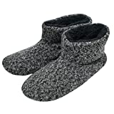 Q-Plus Knit Rock Wool Warm Men Indoor Pull on Cozy Memory Foam Slipper Boots with Soft Rubber Sole,Gray,UK10=US10.5