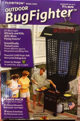 Flowtron Outdoor Bug Fighter Zapper 1 1/2 acre UV Black Light Insects Lures