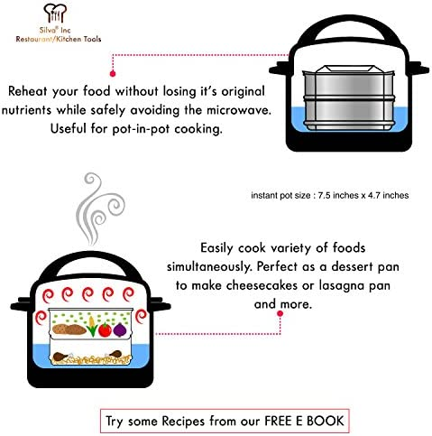 51zLBOpkjeL. AC Silva Stackable Pressure Cooker Accessories Compatible with Instant pot 6 qt + 2 Lids + Safety Handle+ Recipe E-Book - Pot in Pot Food Steamer Inserts Pans    Product Description