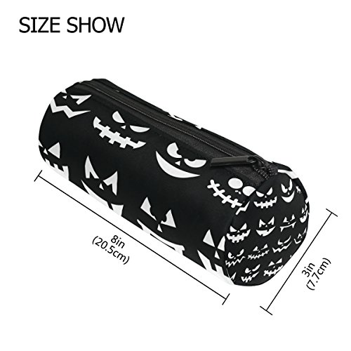 LORVIES Scary Halloween Pumpkin Faces Pencil Case Cylinder Shape Pen Stationery Pouch Bag Cosmetic Makeup (Scary Halloween Zipper Face)
