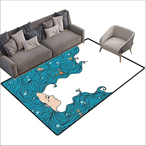 Door Rug for Internal Anti-Slip Rug Mermaid Decor