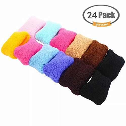 Wide Version Large Cotton Stretch Hair Ties FUNJIA 24 Pieces Bands Rope Ponytail Holders Headband for Natural Curly Hair Ties Rope Assorted Elastics Ties (12 Colors)