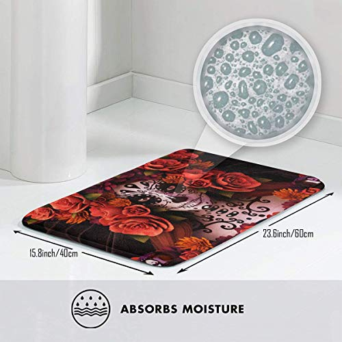 Velvet and Memory Foam Microfiber Bath Mat, Sugar Skulls and Roses Day of Dead Halloween, Plush Bathroom Decor Mat with Non Slip Backing, 23.6 Inches by 15.8 -