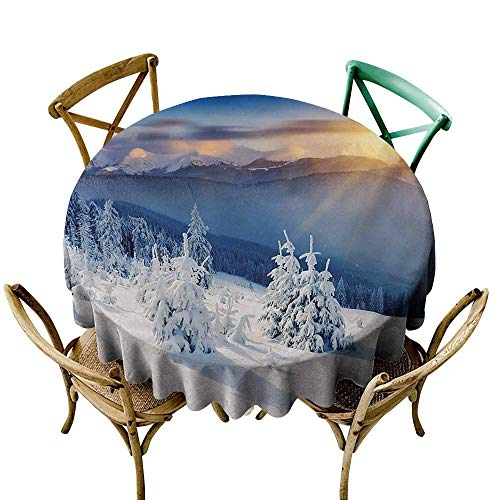 (White Tablecloth 70 inch Winter,Fantastic Disappearance of Sunrise in Mountain Tops Dramatic Sky Alpine,White Blue Apricot Polyester Fabric Table)