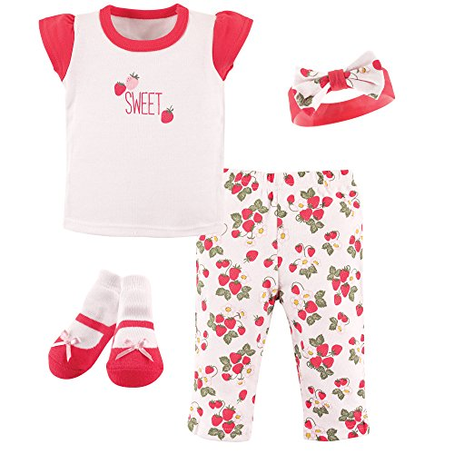 4 Piece Strawberry (Hudson Baby Baby Layette Box Set 4 Piece, Strawberries, 0-3 Months)