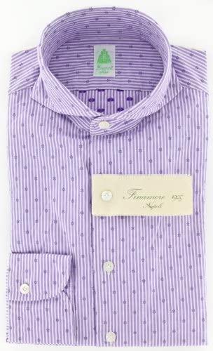 Size Medium 16.5 Finamore Napoli Purple Patterned Button Down Cutaway Collar Cotton Slim Fit Dress Shirt
