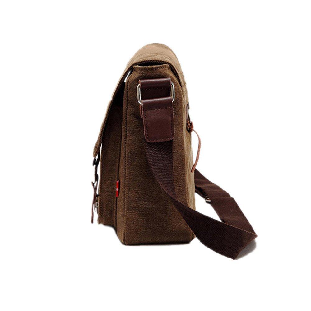 MLMHLMR Casual Canvas Bag Briefcase Mens Shoulder Bag Cross Section Men and Women Messenger Bag Brown 32x10x27cm Briefcase