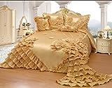 Octorose Royalty Oversize Wedding Bedding Bedspread Comforter Set (BP-H1-Q, Gold)