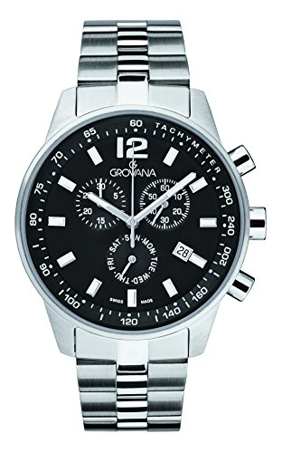 Grovana Men's 'Sport' Swiss Quartz Stainless Steel Casual Watch, Color:Silver-Toned (Model: 7015-9137)