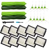 Amyehouse Replacement Parts Kit for iRobot Roomba i7(7150) i7+ Plus(7550) E5(5150) E6(6198) Vacuum,2 Set Multi-Surface Rubber Brushes & 10 High-Efficiency HEPA Filters & 10 Edge-Sweeping Side Brushes
