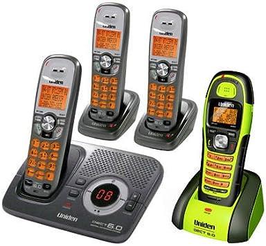 Uniden DECT 1580 – 4 WXT sin interferencias DECT 6.0 Expandable Digital Cordless Phone w/Sistema de contestador, 3 terminales & Impermeable teléfono: Amazon.es: Electrónica