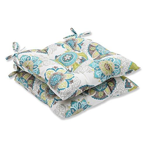 Pillow Perfect Outdoor Allodala Wrought Iron Seat Cushion, Oasis, Set of 2