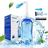 Neti Pot Sinus Rinse Bottle 300ml, Nose Cleaner, Nasal Irrigation System with 30 Nasal Wash Salt Packets and Sticker Thermometer for Adult & Kid BPA Free (300ml Bottle)